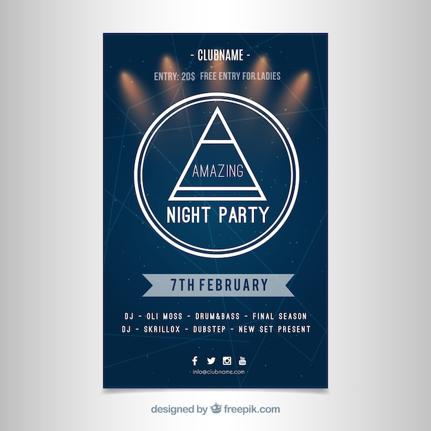 Modern party poster template Vector | Free Download