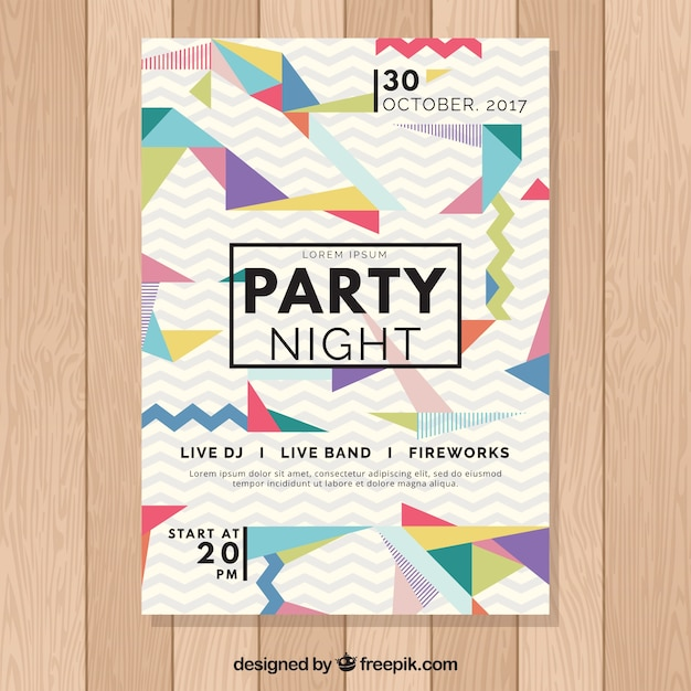 Modern party poster template Free Vector