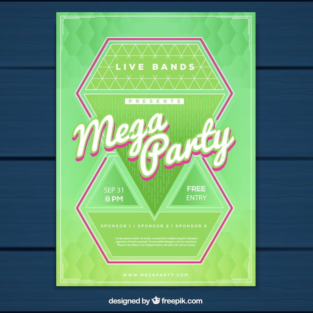 Modern party poster with diamonds