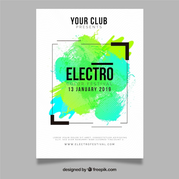 Modern party poster with paint splash Free Vector
