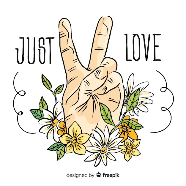 Modern peace symbol with hand showing two fingers Free Vector