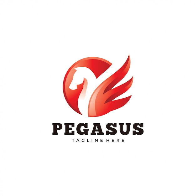 Modern pegasus logo, horse and wing icon Premium Vector