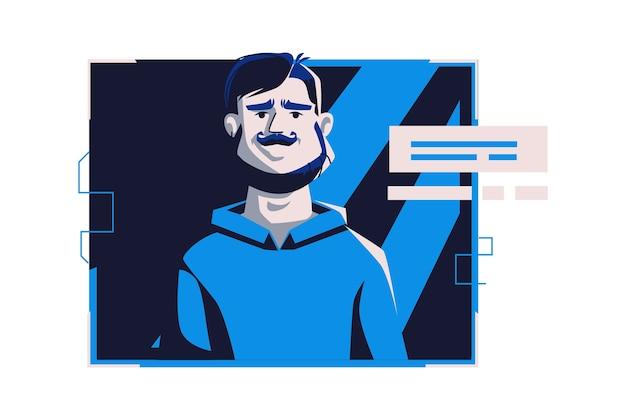 Аватар современных людей в повседневной одежде, векторные иллюстрации шаржа. человек с индивидуальным лицом и волосами, в светлой цифровой рамке на темно-синем компьютере, изображение для веб-профиля Бесплатные векторы