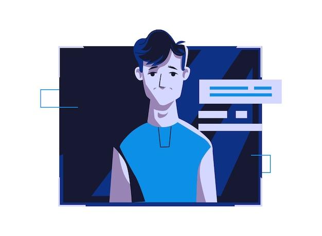 カジュアルな服装の現代人アバター、ベクトル漫画イラスト。個々の顔と髪の男、ダークブルーのコンピューターの明るいデジタルフレーム、webプロファイルの画像 無料ベクター