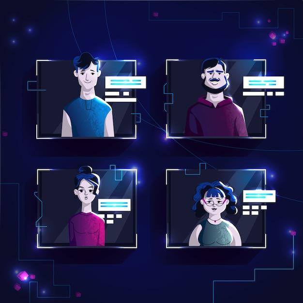 Modern people avatars in casual clothes, set vector cartoon illustration. Premium Vector