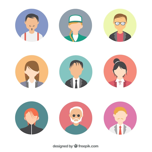 modern people avatars pack vector free download