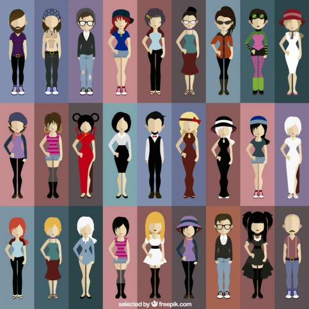 Character Design Icon : Modern people avatars vector free download
