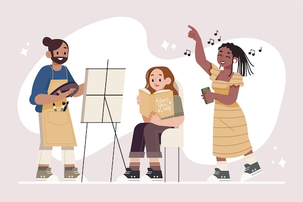 Modern people doing cultural activites Free Vector