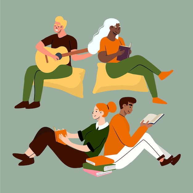 Modern people doing cultural activities set Free Vector