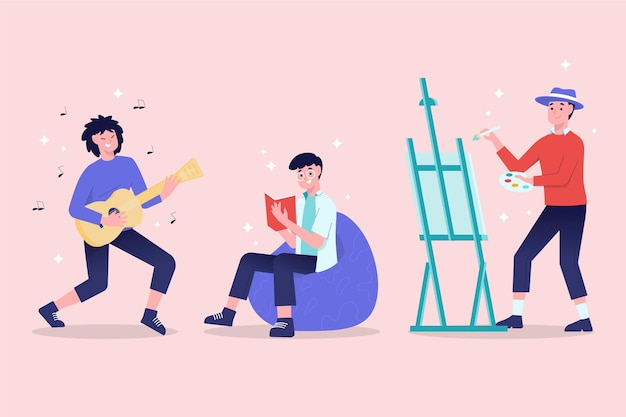 Modern people doing cultural activities Free Vector