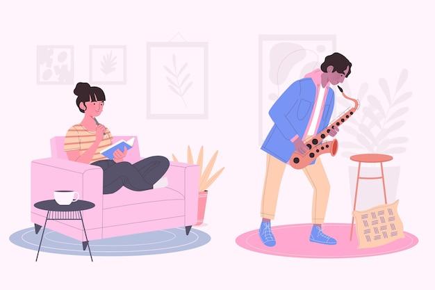 La gente moderna che legge e suona il sassofono Vettore gratuito