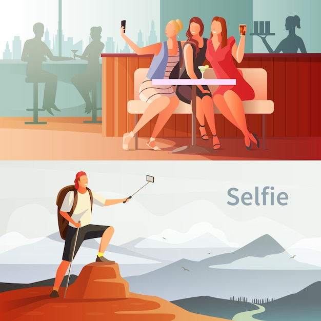 Modern people selfie set Free Vector