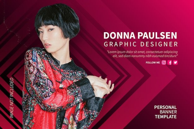 Modern personal banner with business background Free Vector