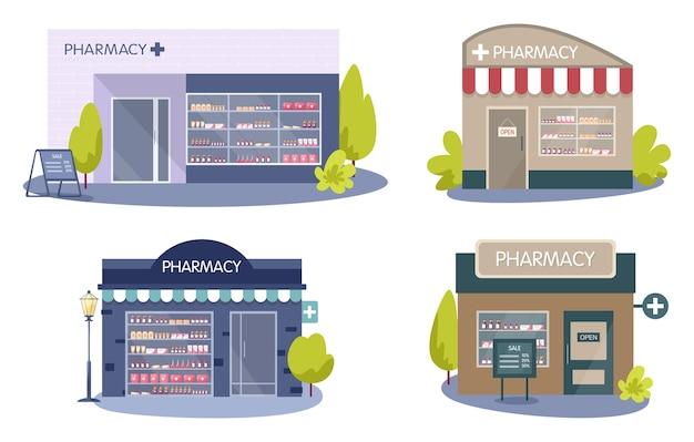 近代的な薬局の建物の外観。医薬品や薬を注文して購入します。ヘルスケアと医療の概念。 Premiumベクター