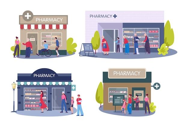 近代的な薬局の建物の外観。人々は医薬品や薬を注文して購入します。ヘルスケアと医療の概念。 Premiumベクター
