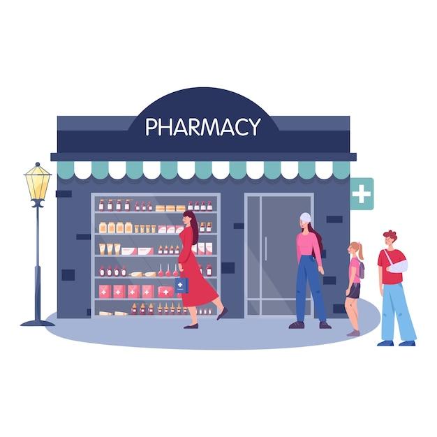 モダンな薬局の建物の外観。人々は医薬品を注文して購入します Premiumベクター