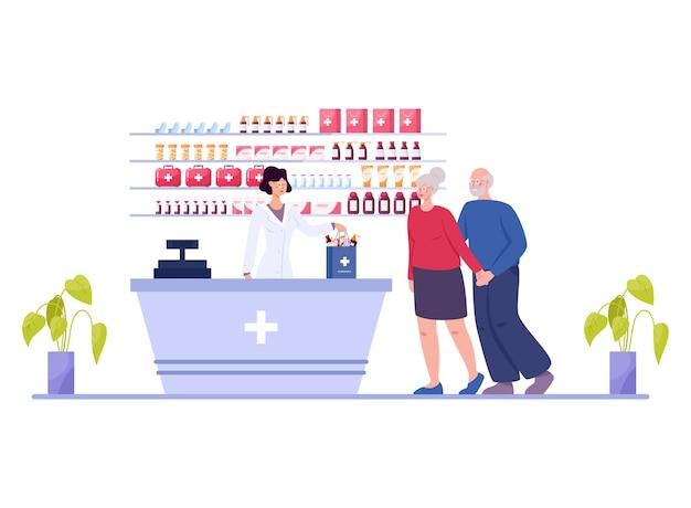 Интерьер современной аптеки с посетителем Premium векторы