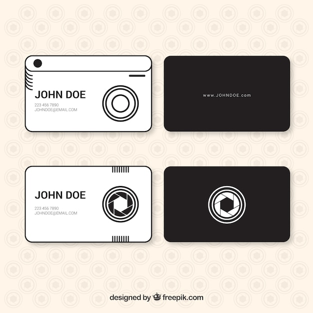 Modern photo studio cards in linear style