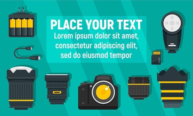 Modern photographer equipment banner, flat style Premium Vector