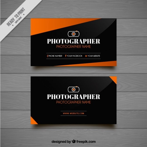 Modern photography business card with geometric shapes Free Vector