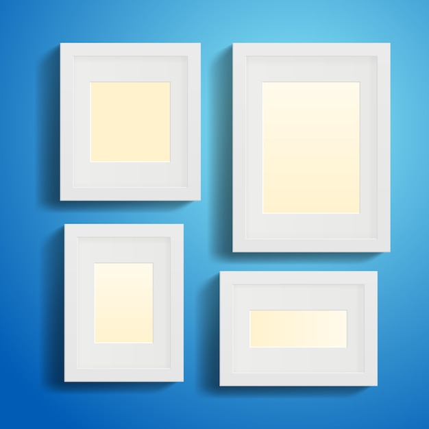 Modern picture or photo frames with shadows Free Vector