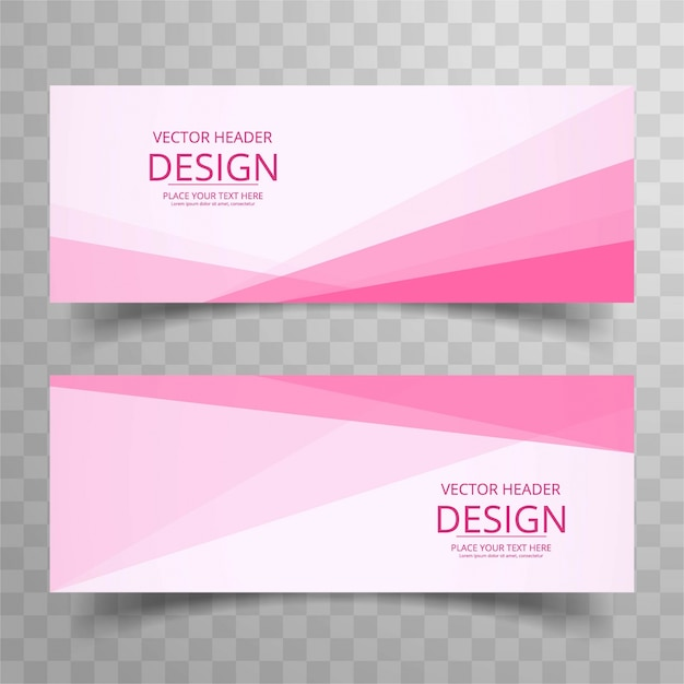Modern pink stylish banners Free Vector
