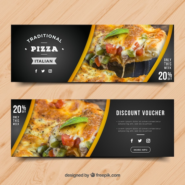 Modern pizza banner Free Vector