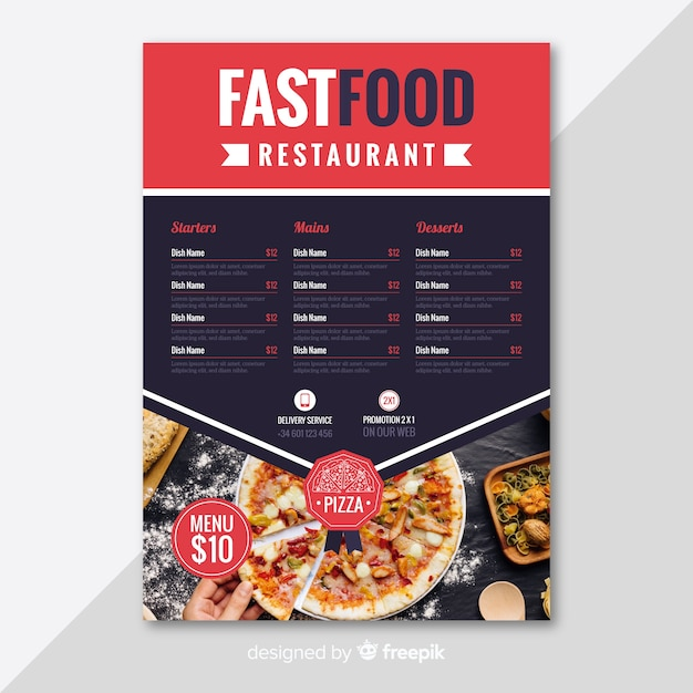 modern pizza restaurant flyer template vector free download
