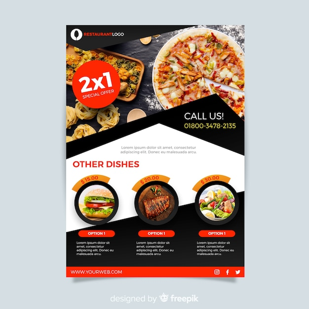 Modern pizza restaurant flyer template Free Vector