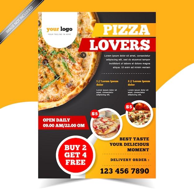 Modern pizza restaurant flyer template Premium Vector