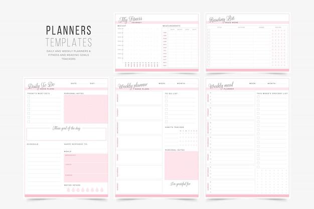 Modern planner templates Premium Vector