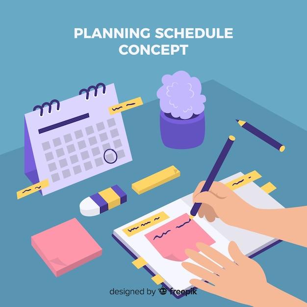 Modern planning schedule template Free Vector