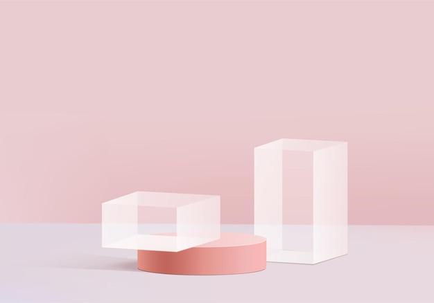 핑크 유리 현대적인 현대 플랫폼. 프리미엄 벡터