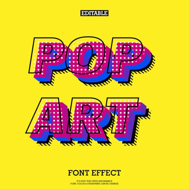 Modern pop art font effect Vector | Premium Download