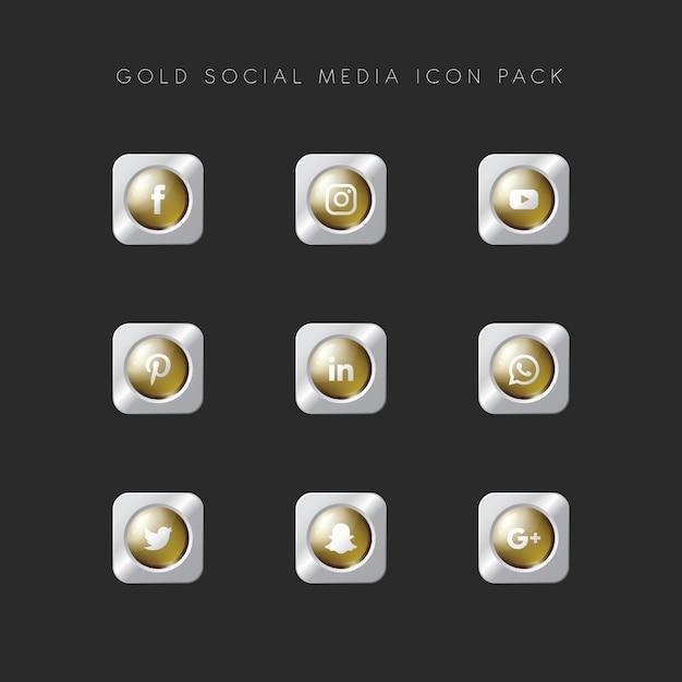 Modern popular social media icon pack gold version Premium Vector