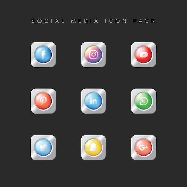 Modern popular social media icon pack Premium Vector