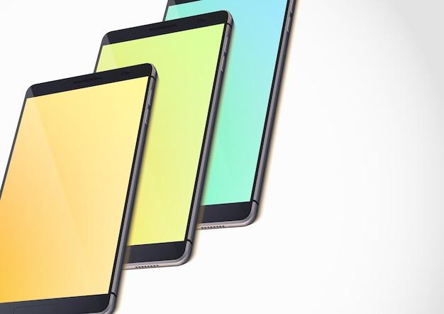 현실적인 스마트 폰 및 격리 된 흰색에 화려한 빈 화면 현대 휴대용 가제트 템플릿 무료 벡터