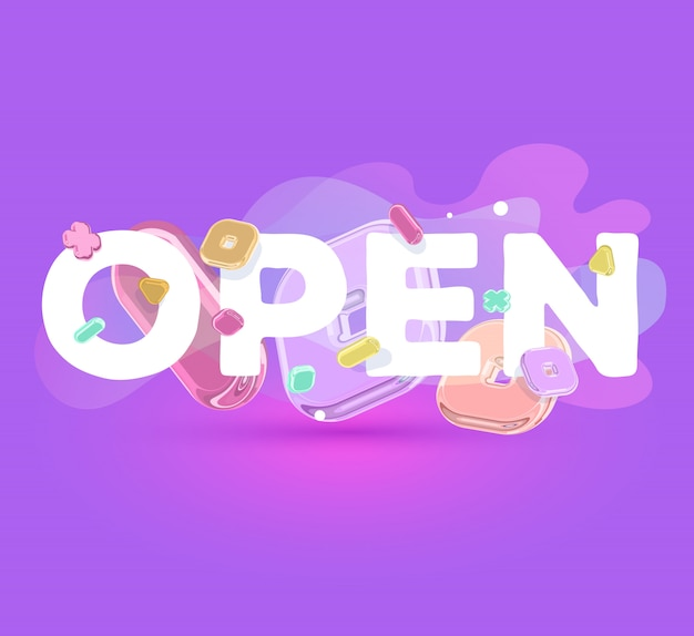 Modern positive template with bright crystal  elements and word open on purple background with shadow. Premium Vector
