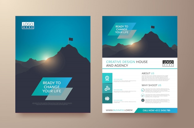 現代のポスターチラシパンフレットテンプレート Premiumベクター