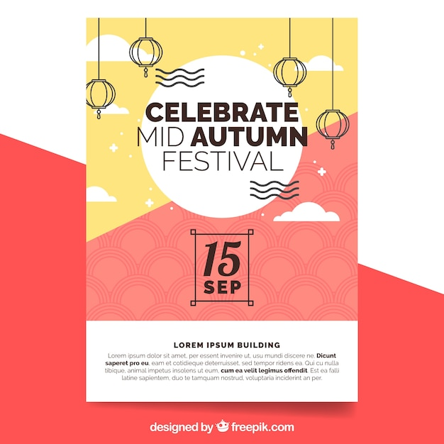 modern poster for mid autumn festival vector free