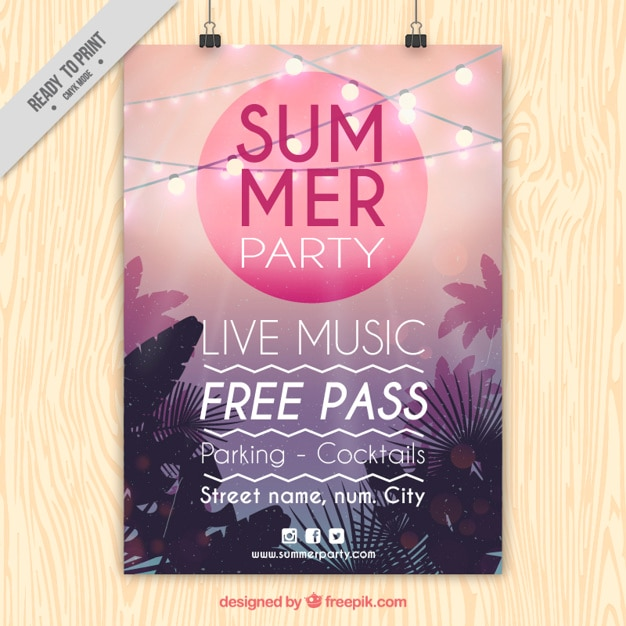 Modern poster of summer party with lights and palm trees