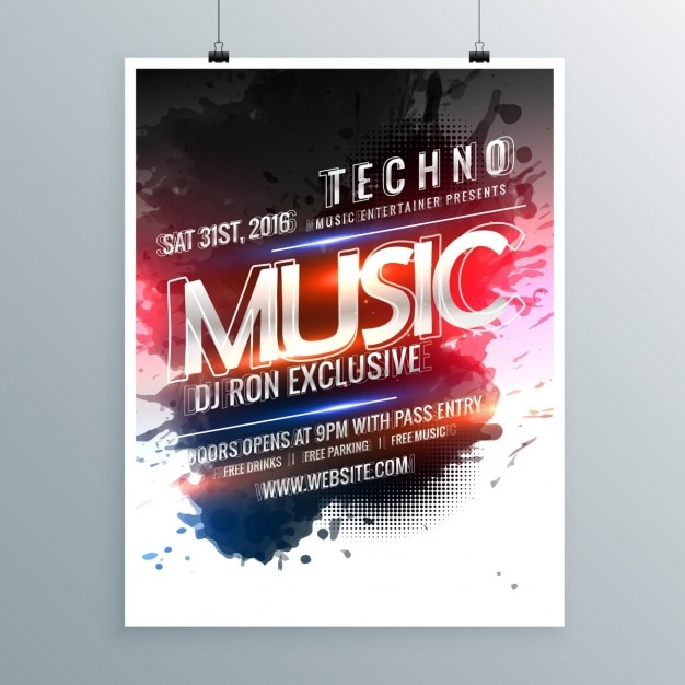 Modern poster template of techno music Free Vector