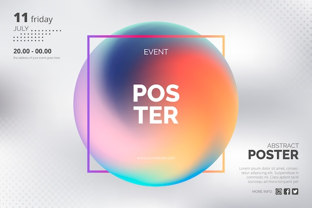Modern poster template with holographic gradient Free Vector