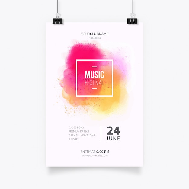 Modern poster template with watercolor splash Free Vector