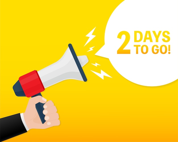Modern poster with yellow days to go megaphone. modern red hand holding megaphone icon.  illustration. Premium Vector