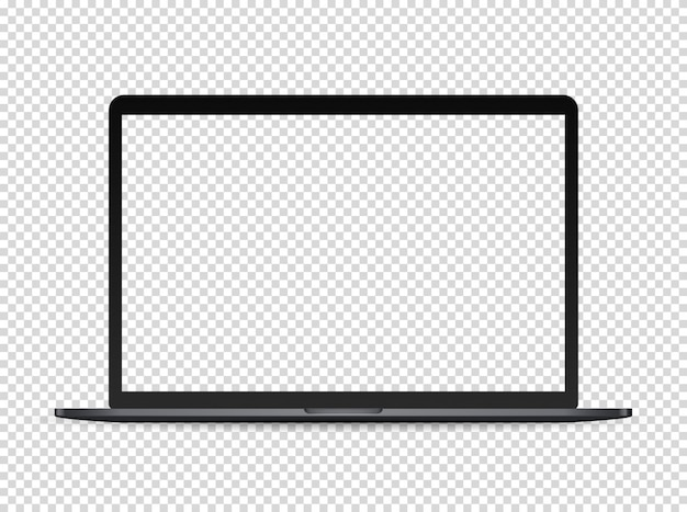 Modern premium laptop on dark background. transparent screen for a content Premium Vector