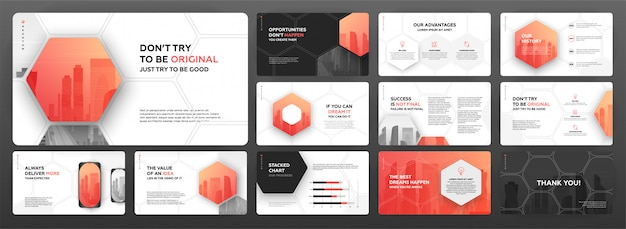 Modern presentation templates set for business and construction. Premium Vector