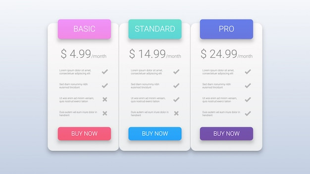 Modern pricing plans template Vector | Premium Download