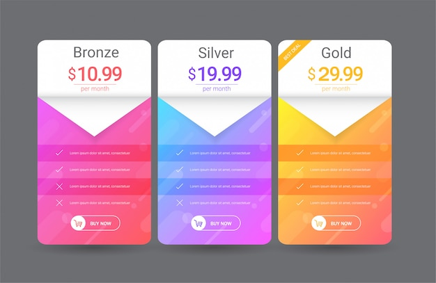 Modern pricing table template Premium Vector