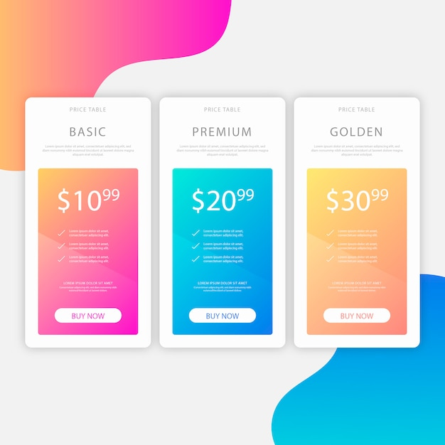 Modern pricing table with tree options Free Vector